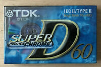 K7 / CASSETTE / TAPE -NEW SEALED HIGH BIAS TDK D60 XLII IEC TYPE II NEUVE SCELLE