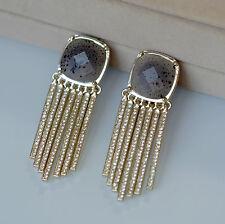 Boucles d`Oreilles Clips Pinces Doré Gris Tassel Pavé Fin Art Deco Mariage X13