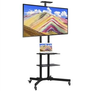 FITUEYES Mobile TV Cart with Wheels for 23-55 Inch LCD LED Flat Curved Screen TVs up to 77 lbs Mobile Rolling TV Stand with Height Adjustable Shelf Trolley Floor Stand Max VESA 400x400 Black