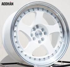 AODHAN AH01 17x9 4x100 / 4x114.3 +25 White Machined Lip (PAIR) wheels
