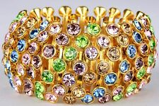 Wide Goldmulti Sparking Stretchy Bracelet Crystal Rhineston Fashion Jewelry BD19