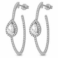 """925 Sterling Silver White Clear Teardrop CZ Half-Hoop Oval Earrings, 1.20"""""""
