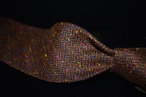 LNWOT #1 MENSWEAR Drakes Made in England Cinnamon Silk Tweed Donegal Untip Tie
