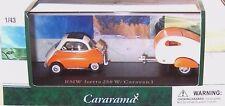 New In Box Cararama Diecast 1/43 BMW Isetta 250W with Caravan I