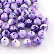 50 x 8mm Violet Acrylic Round Beads Colourful