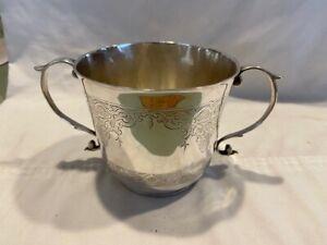 1702 Queen Anne Britannia Sterling Silver Caudle Cup Porringer London J Downes