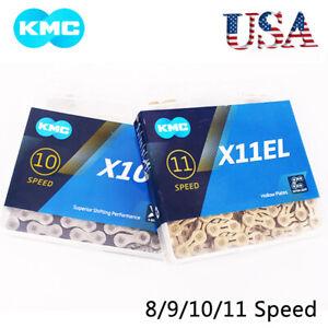 KMC 8-11s Chain MTB Road Hollow X/EL Gold Chains Silver Gray/Black Titanium/Gold