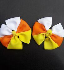 candy corn hair bows, Halloween, Thanksgiving, Fall , pigtail bows, hair clips