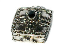 New 925 Sterling Silver Bali Square Black Onyx Prayer Box Pendant Urn Jewelry