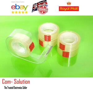 Pack Of 5 Clear Tape With Desktape Dispenser 15mm x 20m Sellotape Home Office Us