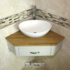 Bathroom Vanity Grey Painted Unit Corner Wash Stand & White Ceramic Basin 501GW