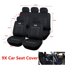 9Pcs Sports Car Seat Covers 5-Seats Seat Cushion Protector Interior Accessories