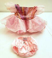 Build a Bear Girl Pink Satiny Tulle Dress w Pink Satiny Panties