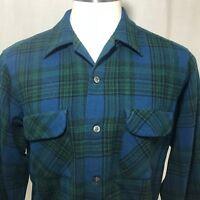 True Vintage 60s Pendleton Wool Board Shirt L Green Blue Plaid Loop Collar USA