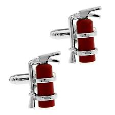 FIRE EXTINGUISHER CUFFLINKS Fireman Fighter 3D Red Enamel w GIFT BAG Fathers Day