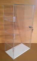 "LOCKING Acrylic Countertop Display Case 12"" x 7"" x 22.5"" LUCITE SHOWCASE"