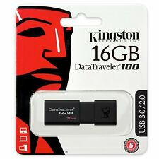 Kingston 16gb DataTraveler 100 USB 3.1 Pluma Unidad Flash Lápiz de memoria