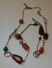 "34"" Lia Sophia Silvertone Necklace and Acrylic Beads Fashion Jewelry"
