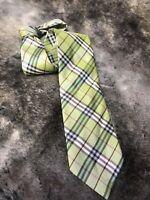 "Burberry London Men's Necktie Green Classic Plaid 100% Silk 3.75"" W x 60"" L"