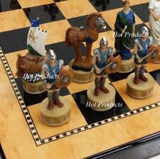 "Greek Mythology Trojan War Troy vs Spartan CHESS SET 15"" Mahogany Color Board"