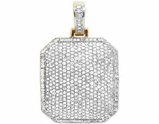 """Men's 10K Yellow Gold Iced Dome Pillow Real Diamond Charm Pendant 1 1/10 CT 1.1"""""""