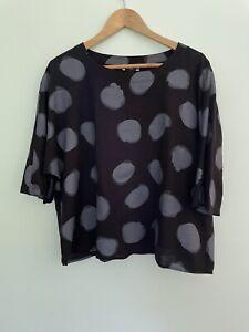 CLARITY BY THREADZ XL linen blend spot black box half sleeve top like new