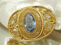 HUGE Vintage 1800's Victorian Blue Crystal Gold Tone Brooch  135a9