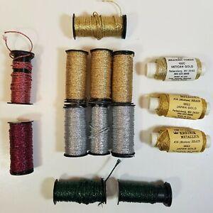 Lot 13 Spools Kreinik Metallics Medium Braid #16 HL Reg Gold Silver Green Pink