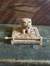 CORK CARVED FOLK ART CAT INKWELL AND PEN BLUE GLASS EYES