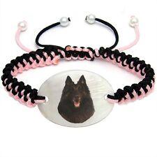 Tervuren Dog Mother Of Pearl Natural Shell Adjustable Knot Bracelet Bs127