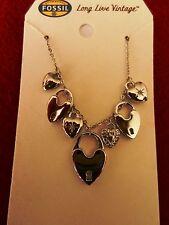 Fossil Multi Heart Lock Necklace  MSRP $58