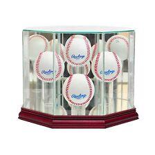 *New 4 Ball Quad Glass Baseball Display Case MLB FREE SHIPPING UV Made in USA