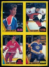 1987-88 OPC Wayne Gretzky Luc Robitaille RC Year BOX BOTTOM 4 CARD UNCUT PANEL