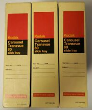 Lot of 3 Kodak Carousel Transvue 80 Slide Trays with Boxes