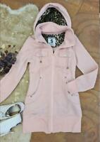 Refuge Plush Long-line Pink Hoodie with Leopard Trims