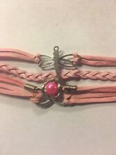 PINK Heart  Infinity Dragonfly Pearl Leather Charm Bracelet plated Silver-502
