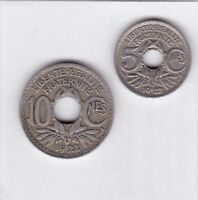 5 centimes und 10 centimes Frankreich 1922 Poissy thunderbolt France seltener