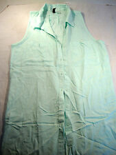 Divided Womens Baby Blue Shirt Blouse Top T-Shirt Button Down Size 4 V Neck