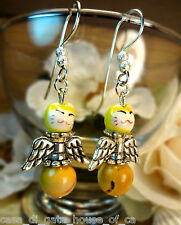 EARRINGS, ANGEL KITTY, PORCELAIN KITTY BEAD & MOOKAITE BEAD