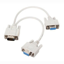 1 Pcs New Y Splitter 15Pin One Drag Two SVGA Monitor VGA Line Cable Lead