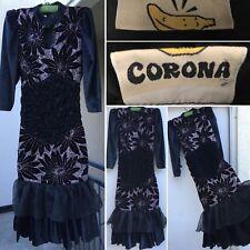 Vintage Dress Velvet Look Ruffles Shoulder Pads Sparkles Corona Label W/ Banana