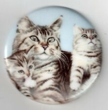 1 43mm Unset Porcelain Cameo w/ Grey Tabby Cat & Kittens