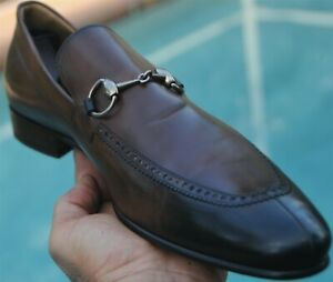 GUCCI Man's burnished brown Loafers shoes brand  Size 10.5