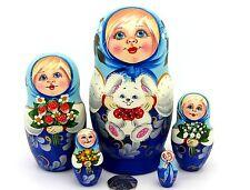Nesting Russia Doll Matryoshka hand painted GIRLS in Blue & Bunny Rabbit MATT 5