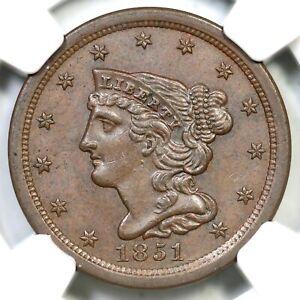 1851 C-1 NGC MS 63 BN Braided Hair Half Cent Coin 1/2c