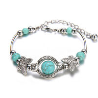 Pretty Women Turquoise Bead Silver Plated Bracelet Butterfly Adjustable Bangle