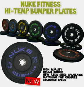 "Nuke Fitness® Rubber Bumper Weight Plates Hi Temp Pro Grade GYM CROSSFIT 2"""