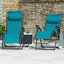 ⭐️Set of 2 Teal Zero Gravity Reclining ☀Sun Lounger Helsinki Chairs ✅FREE POST✅
