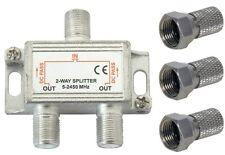 2 WAY TV AERIAL SPLITTER VIRGIN SATELLITE SKY DIGITAL INC 3 X F PLUGS
