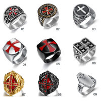 Vintage Mens 316L Stainless Steel Cross Rings Wedding Band Jewelry Gift 7-15